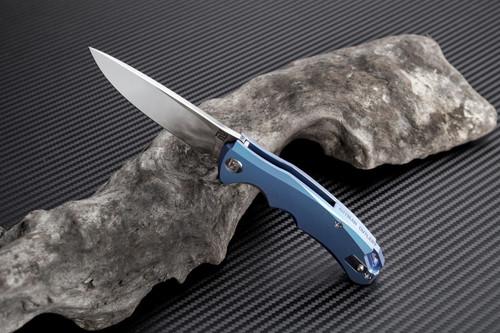 "Artisan Small Tradition ATZ1702GSBU, 3.27"" S35VN Plain Blade, Blue TC4 Titanium Handle"