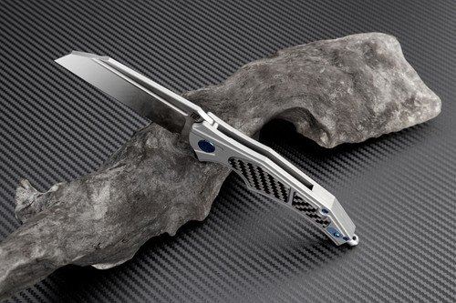 """Artisan Apache ATZ1813GGYM, 3.82"""" M390 Plain Blade, Gray Titanium/Carbon Fiber Handle"""