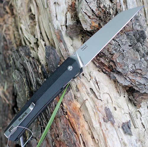 "Ruike P865-B, 3.5"" 14C28N Plain Blade, Black G-10 Handle"
