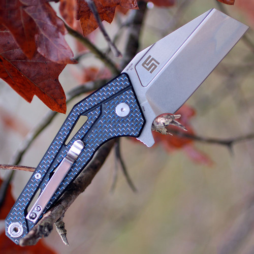 "Artisan Ravine ATZ1819PCFB, 2.83"" D2 Steel Tanto Blade, Blue Carbon Fiber Handle"
