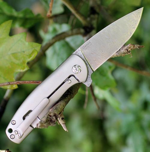 "Kizer 2471D1 Gemini Framelock, 3"" Odin Heim Damasteel Plain Blade, Silver Titanium Handle"