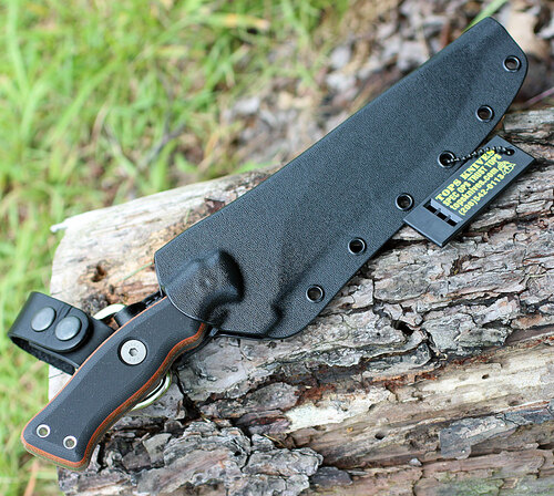 "TOPS OP7-01 Operator 7, 7.25"" 1075 Carbon Steel Acid Rain Blade, Micarta/Black G10 Handle"