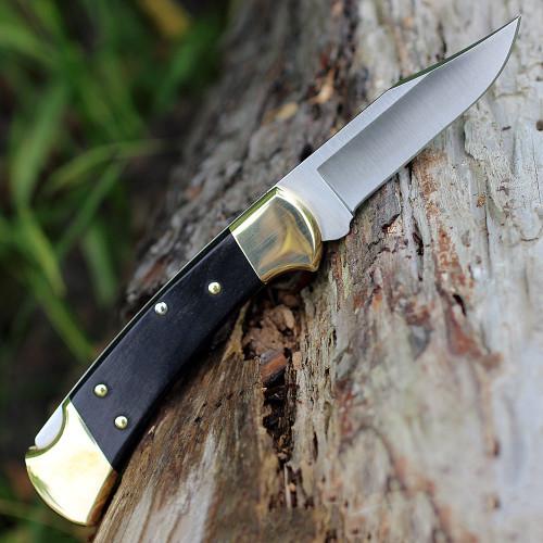 "Buck Auto 112BRSA, 3"" Satin 420HC SS Plain Blade, Macassar Ebony Dymondwood Handle"