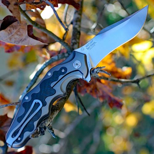 "CRKT Ken Onion Motley Flipper K210CFXP, 3.875"" Sleipner Plain Blade, Titanium Carbon Fiber Inlays Handle-Limited to 500"