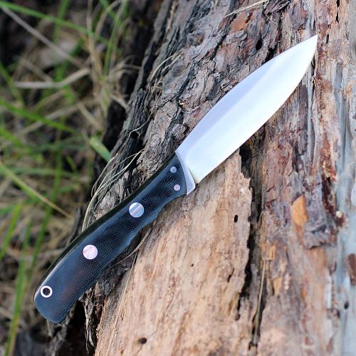 "Bark River 03123MBC Canadian Special, 4"" CPM-3V Plain Blade,Black Canvas Micarta Handle"