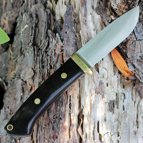 "Bark River 02116MBC Classic Drop Point Hunter, 3.7"" A-2 Steel, Black Canvas Micarta"