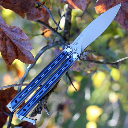 "Bradley Kimura BCC905, 3.6"" 154CM Spear Point Blade, Blue G-10 Handles"