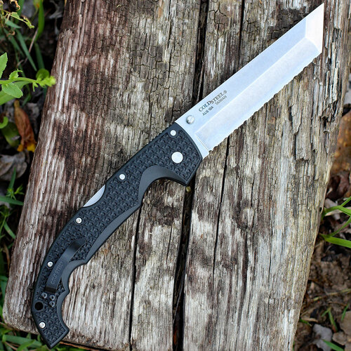 "Cold Steel Voyager XL 29AXTS, 5 1/2"" Tanto AUS-10A Stonewash Blade, Black Griv-Ex Handle"