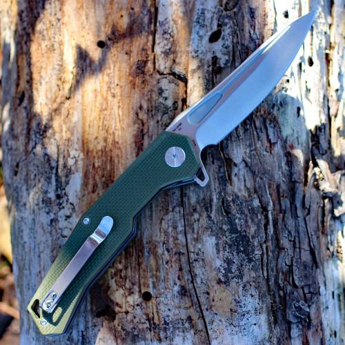 """Artisan Zumwalt ATZ1808PGNF, 3.94"""" D2 Plain Blade, Flat Green G-10 Handle"""