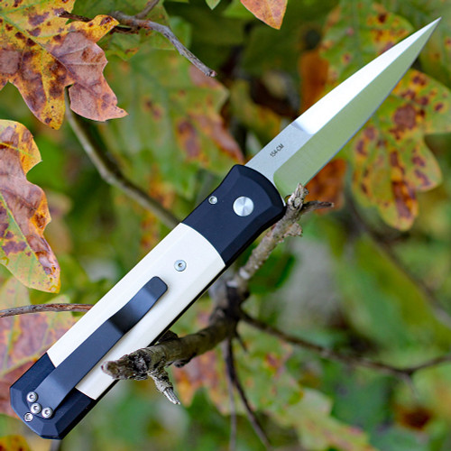 "Pro-Tech Godfather 951, 4"" 154CM Satin Blade, Black Aluminum / Ivory Micarta Inlay"