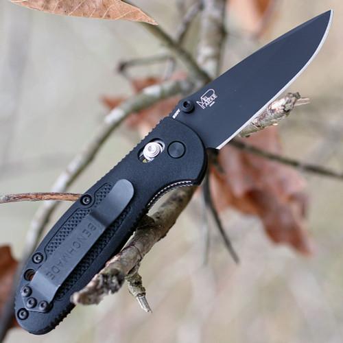 "Benchmade Mini Griptilian 556BK-S30V, 2.91"" S30V Black Drop Point Plain Blade, Black Noryl GTX Handle"