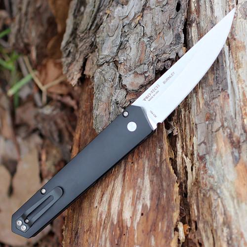 "Boker Plus/Pro-Tech 06EX291 Kwaiken Auto, 3.5"" 154CM Stonewash Plain Blade, Black Aluminium Handle"