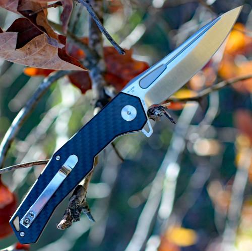 """Artisan Zumwalt ATZ1808PCF, 3.94"""" D2 Plain Blade, Carbon Fiber Handle"""