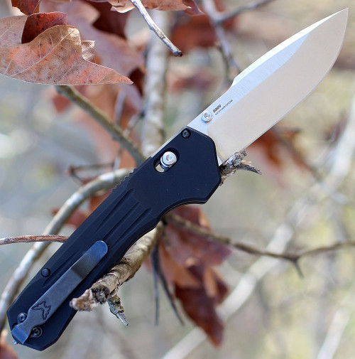 "Benchmade 407 Vallation, 3.7"" CPM-S30V Satin Plain Blade, Black Aluminum Handle"