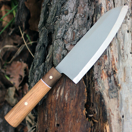 Condor Kondoru Santoku Knife CTK5000-6.5, 6.5 in. 1095 High Carbon Steel, Hickory & Walnut Handle