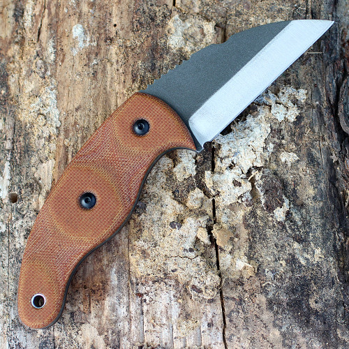 "Tops Knives LILB-01 Little Bugger,  2.38"" 1095 Carbon Steel, Tan Canvas Micarta Handle"