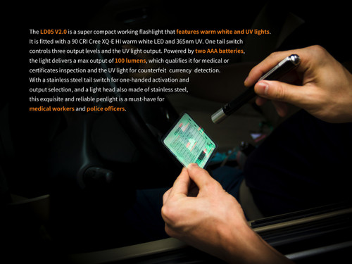 Fenix LD05 V2.0 EDC LED Flashlight with UV Lighting, Penlight