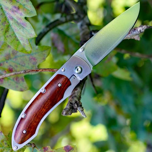 "Fallkniven P Framelock Folding knife, 3"" 3G Satin Blade, Desert Wood Ironwood Handle, Nylon Sheath"