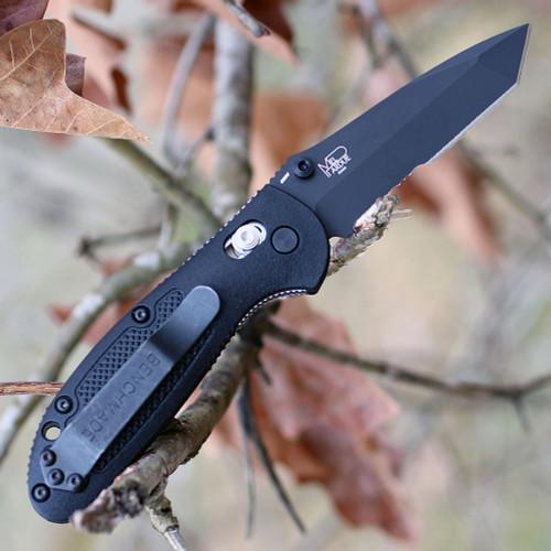"""Benchmade Mini Griptilian 557SBK-S30V, 2.91"""" CPM-S30V Combo Black Tanto Blade, Black Noryl GTX Handle"""