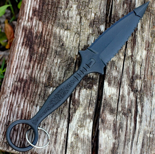 """Cold Steel FGX Ring Dagger 92FR, 3 1/2"""" Dagger, Black Griv-Ex Handle"""