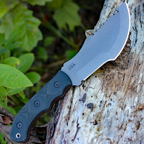 "TOPS Tom Brown Tracker T-3 TPTBT031, 5.75"" 154CM Steel Tumble Blade, Micarta Handle"