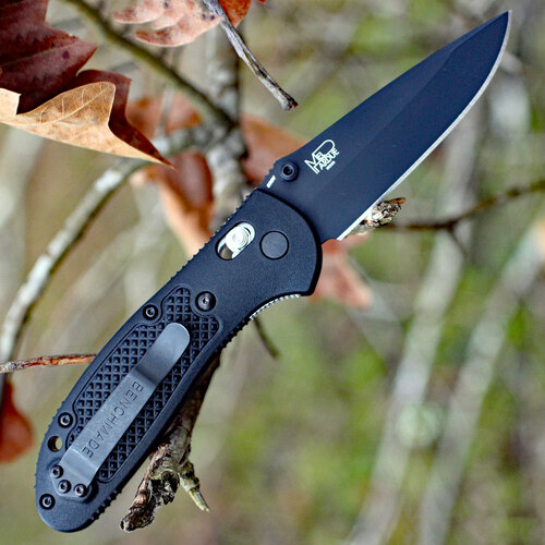 "Benchmade Griptilian 551BK-S30V, 3.45"" S30V Drop Point Plain Black Blade, Black Noryl GTX Handle"