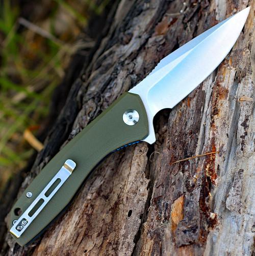 "CIVIVI Baklash C801A, 3.5"" 9Cr18MoV Satin Drop Point Plain Blade, OD Green G-10 Handles"