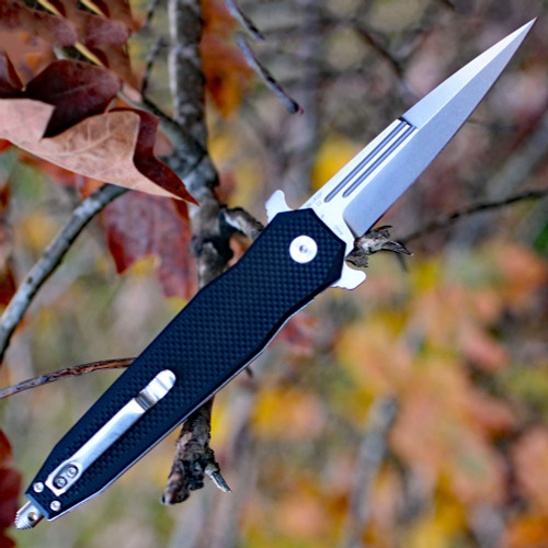 "Artisan Hornet  ATZ1810PBKF, 3.54"" D2 Steel Stone Wash Blade, Black G10 Handle"