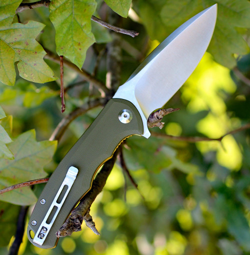 "CIVIVI PRAXIS FLIPPER POCKET KNIFE C803A OD 3.75"" STAINLESS STEEL, PLAIN EDGE BLADE, GREEN G-10 HANDLE"