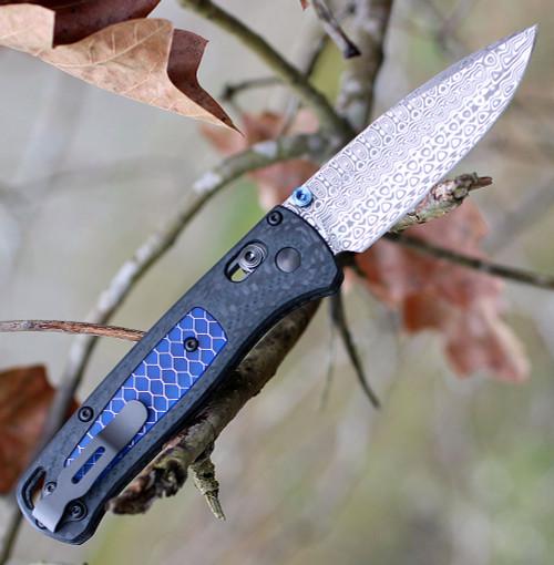 """Benchmade 535-191 Bugout Gold Class, 3.24"""" Damasteel Blade with Carbon Fiber/Blue Ctek Inlay Handle"""