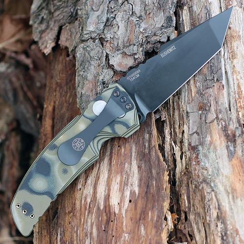 """Hogue 34128 EX-A01, 3.5"""" 154CM Black Tanto Plain Blade, G-Mascus Green G-10 Handle"""