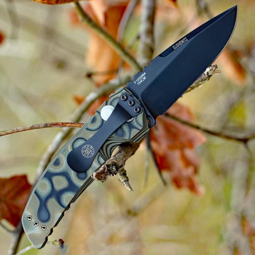 "Hogue 34138 EX-A01, 3.5"" 154CM Drop Point Plain Blade, G-Mascus Green G-10 Handle"