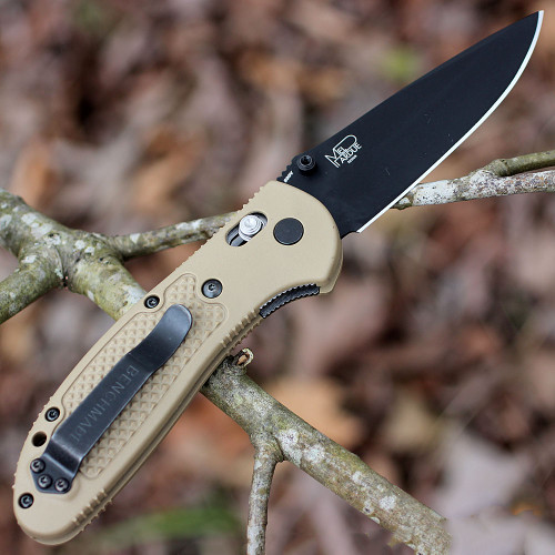 "Benchmade Griptilian 551BKSN-S30V, 3.45"" S30V Drop Point Black Plain Blade, Sand Color Noryl GTX Handle"