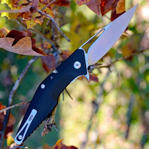 "Brous blades Division linerlock, 4.5"" Stonewash Plain Blade, Black Polymer Handle"