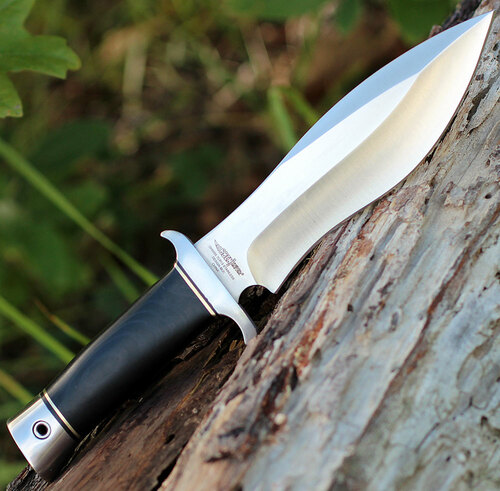 "Hibben Alaskan Boot Knife GH5055, 5"" 7Cr13 SS Satin Blade, Black Linen Micarta Handle"