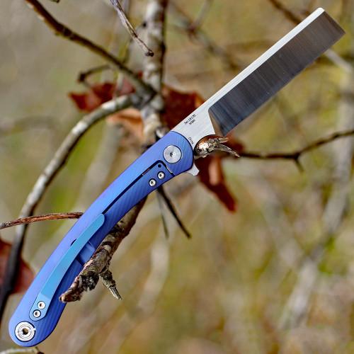 """Artisan Orthodox ATZ1817GBUM, 3.54"""" M390 Satin Blade, Blue Titanium Handle"""