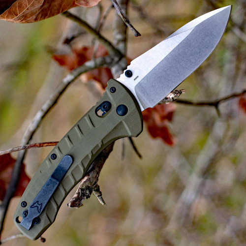 "Benchmade 980 Turret Axis Lock, 3.70"" CPM-S30V Satin Blade, Olive Drab G10 handles"