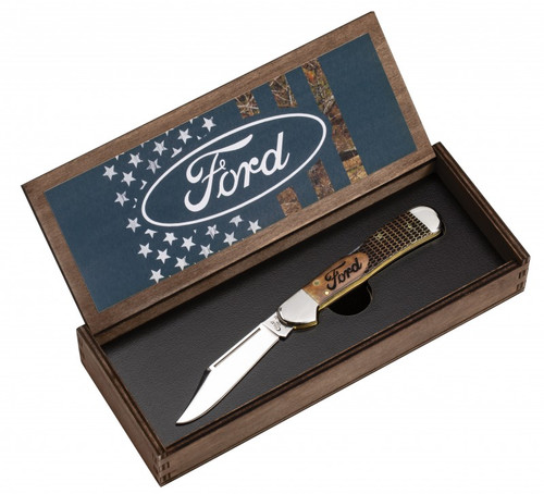 Case Copperlock 14324 Ford Natural Bone Gift Set in Wooden Box (61549L SS)