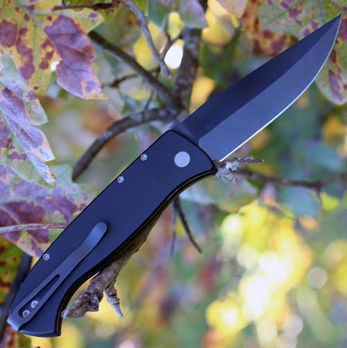 """Pro-Tech Brend 3 1321, 3.75"""" 154-CM Black Blade, Black 6061-T6 Aluminum Handle"""