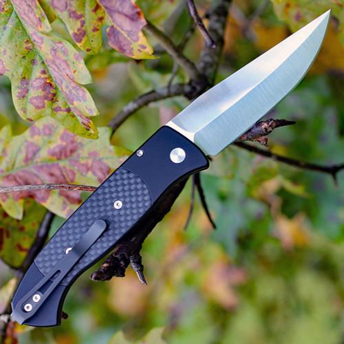 "Pro-Tech Brend 3 Carbon Fiber 1304, 3.75"" 154-CM Satin Blade, Black Aluminum/Carbon Fiber Inlays Handle"