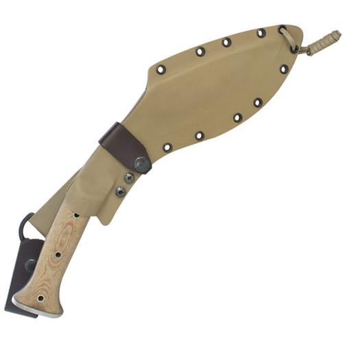 "Condor Tool & Knife CTK1811-10, 10"" Carbon Steel Kukri Fixed Blade, Desert Tan Micarta Handle, Kydex Sheath"