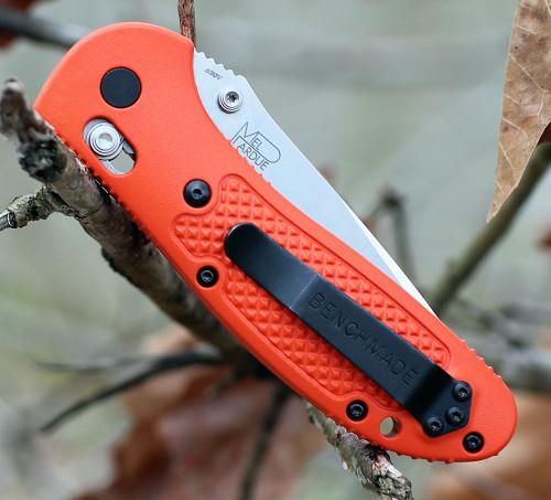 "Benchmade Griptilian 551-ORG-S30V, 3.45"" S30V Drop Point Plain Blade, Orange Noryl GTX Handle"