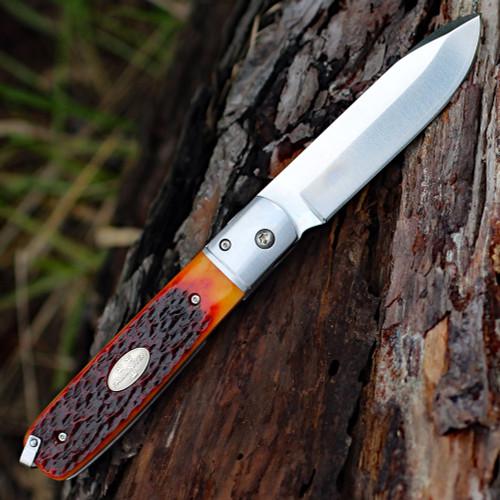 "Fallkniven GPjb Gentleman Pocket Knife Jigged Bone, 3.07"" Lam.Cos Satin Blade"