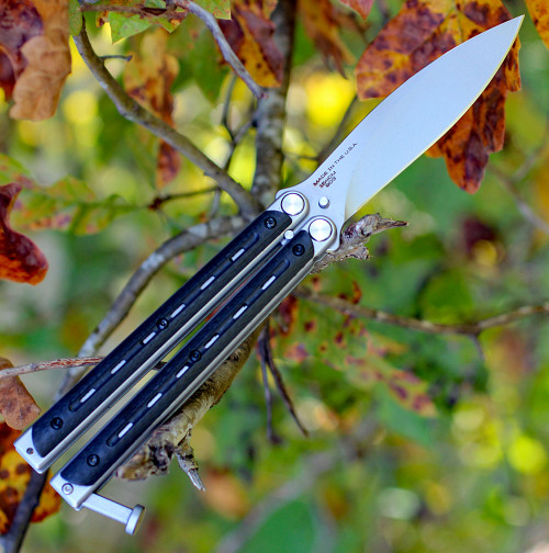 "Bradley Kimura BCC903, 3.6"" 154CM Spear Point Blade, Carbon Fiber Handles"