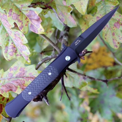"""Pro-Tech Large Don 1905, 4.5"""" 154-CM, DLC Black Blade, Black 6061-T6 Aluminum/Carbon Fiber Handle"""