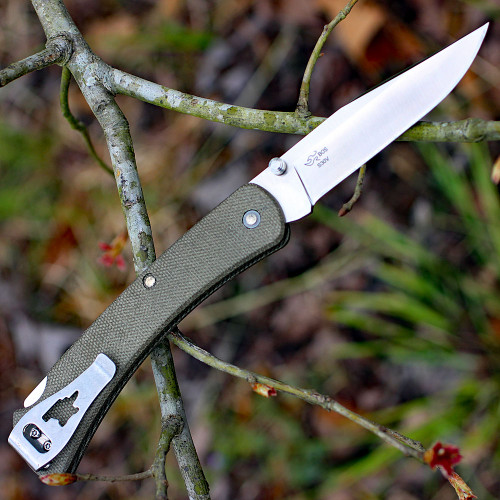 "Buck 110ODS4 Slim Knife Pro, 3.75"" S30V Plain Blade, OD Green Micarta Handle"