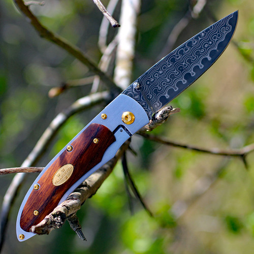 "Fallkniven PD, 35 Year Commemorative Knife, 3"" SGPS Damascus Plain Blade, Desert Ironwood Handle"