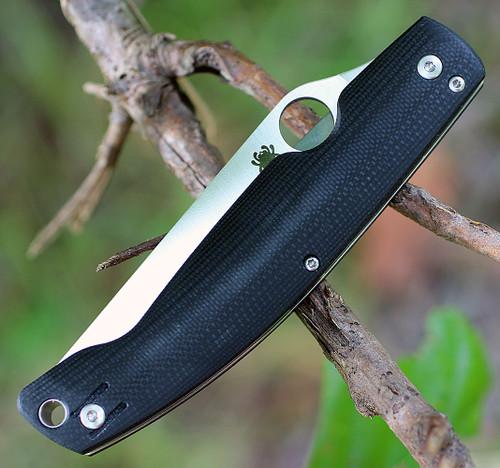 Spyderco Pattada G-10 Black C204GP, 3.90 in. N690CO Plain Blade