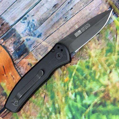 """Gerber Empower Auto 30-001321, 3.25"""" Black CPM-S30V  Plain Blade, Black Aluminum Handle"""
