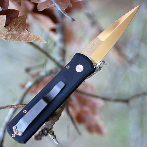"""Pro-Tech Godson 721-CR, 3.15"""" 154-CM Copper Rose Plain Blade, Aluminium Handle"""